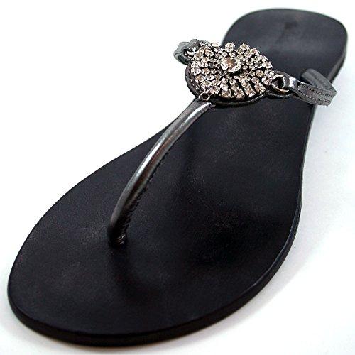 xeina 5,1cm alle Leder Zinn mit Detail Sandale