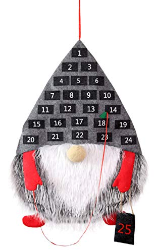 Decorae Gnome Christmas Advent Calendar; Holiday Countdown Gnome Shaped Felt Wall Hanging, 26 x 19 Inches from Decorae