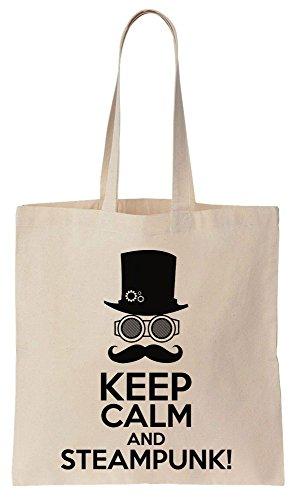 Keep Calm And Steampunk Awesome Design Sacchetto di cotone tela di canapa