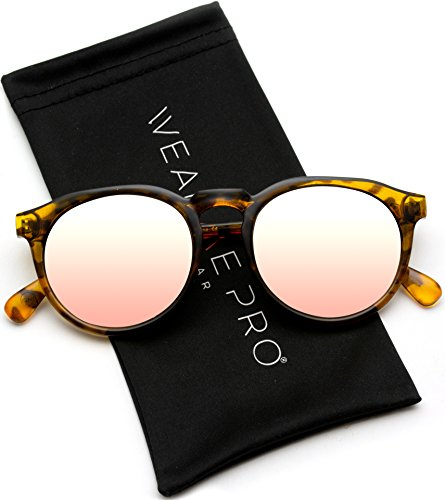 (WearMe Pro - Retro Round Flat Top Frame Mirrored Fashion Sunglasses)