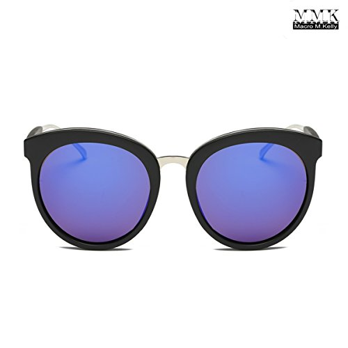 MMK collection Polarized Spring and Summer Full-Rim Cute Round Bold Brow Bars Style Metal Frame Unisex Lady Beach Sunglasses with Matching Case (Black/Purple, - K M Rim
