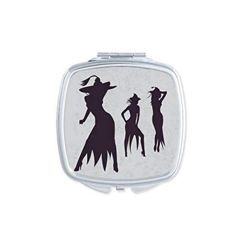 (DIYthinker Three Sexy Witch Halloween Square Compact Makeup Pocket Mirror Portable Cute Small Hand Mirrors)