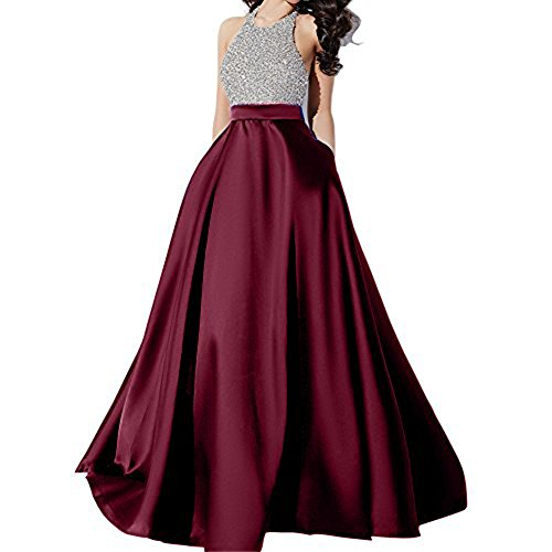 Andybridal Prom Dress Halter Beaded Sequins Backless Evening Dresses Burgundy 16