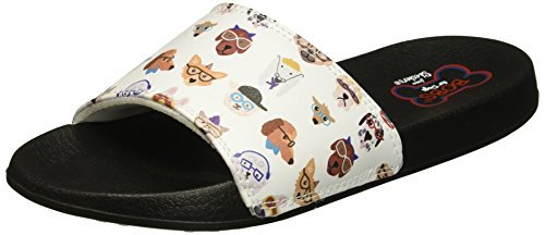 Skechers BOBS from Women's 2nd Take Slide Sandal, White Pup, 9 M US