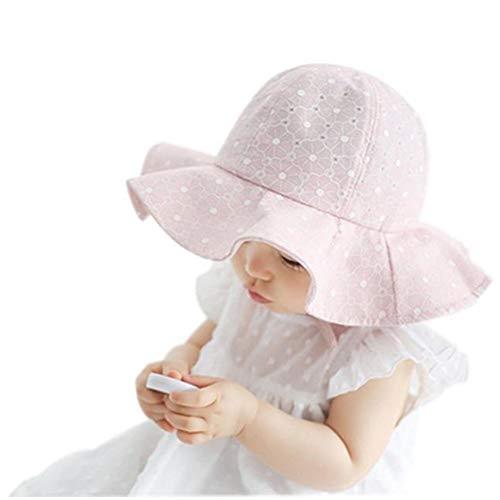 Riverdalin Toddler Kids Baby Girl Sun Hat Cotton Foldable 50+ SPF Protective Outdoor Breathable Princess Cap Beanie Visor (Pink)