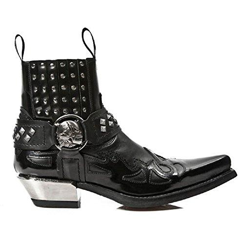 NewRock New Rock M.7950-S1 Schwarz Knöchel Stiefel Western Gote Gurt Schädel Zucht Metall