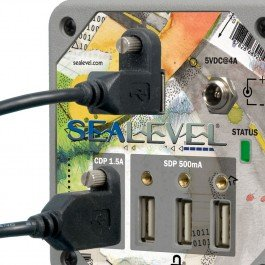 Sealevel High Speed 4-Port USB 2.0 Hub with Battery Charging Downstream Port and SeaLATCH Locking USB Ports; Includes SeaLATCH Locking USB Device Cable and 5VDC @ 4A Power Supply by Sealevel (Image #2)
