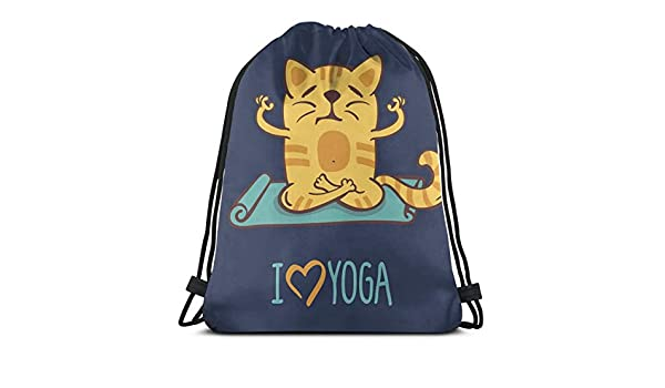 WTZYXS Drawstring Sack Backpacks Bags,I Love Yoga Theme Cute ...