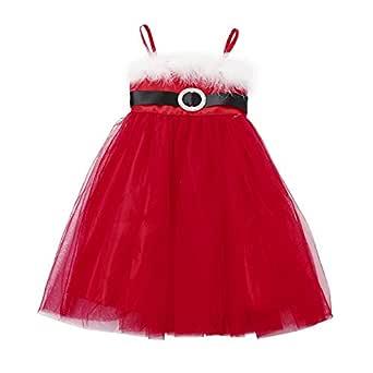 Fossen Kids Vestidos Princesa Niña Boda Rojo de Malla, Falda Tul ...
