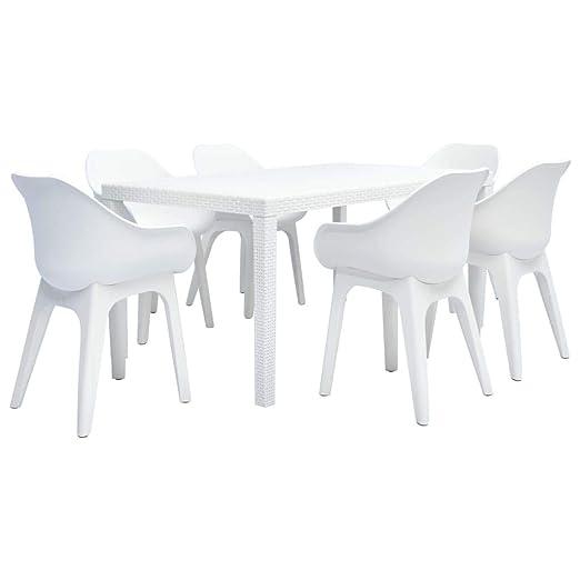 Festnight Conjunto de Muebles de Plástico de Exterior Mesa y ...