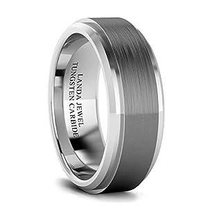 LANDA JEWEL Tungsten Carbide 8mm Wedding Band for Men Beveled Edges Highly Polished and Center Brushed Comfort Fit