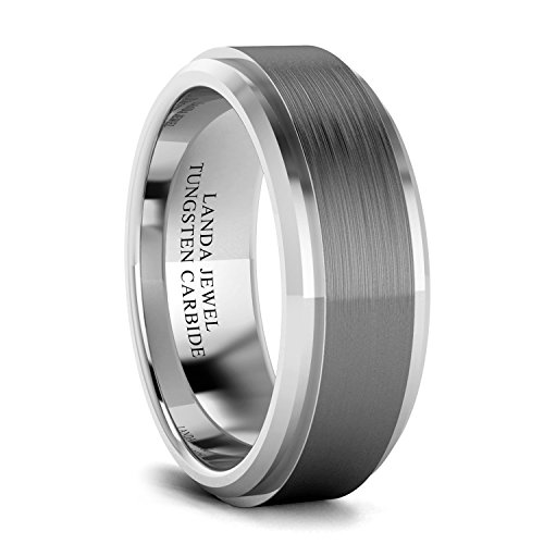 Tungsten Carbide 8mm Wedding Band for Men Beveled Edges Highly Polished and...