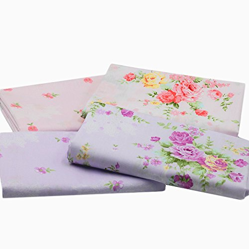 """Sewing Cotton Fabric Fresh Floral Rose Quilting Bundle Fabric for Patchwork and Crafts 4 Designs Size 18"""" x 22"""""""