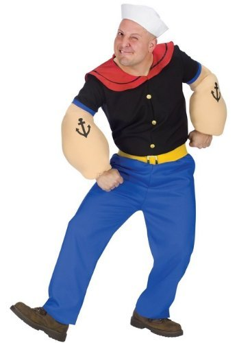 Fun World Men's Popeye Costume-Plus, Blue, One Size