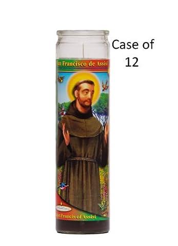 St Francis de Assisi Religious Prayer Candle Case of 12 / Saint Francis Novena Vigil Candle Case of (St Francis Of Assisi Candle)