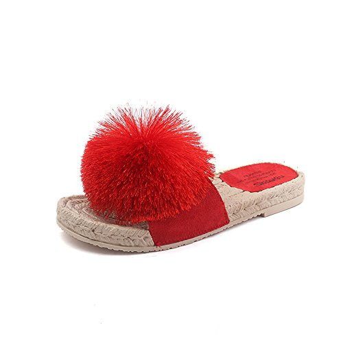 Non Rope Woven Bottom Flat FORTUN Red Ball Hemp Slip Slippers Women Cute Wool Sandals q1w5P5Etx