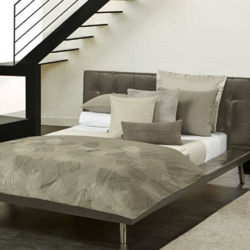 Hugo Boss Geo Stitched Stone Grey QUEEN Duvet Cover