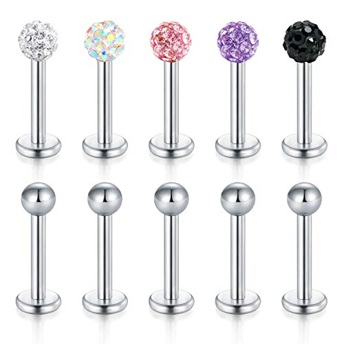 Zolure 16 Gauge 6mm Stainless Steel Crystal Ball Lip Studs Labret Monroe Nose Tragus Helix Ear Piercing Jewelry Set