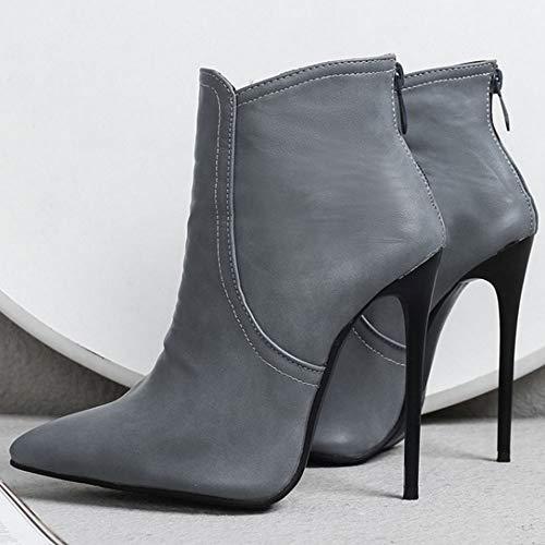 Height Zanpa Gris 12cm Moda Botas Cortas Heels ASrISqw