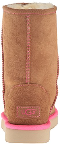 UGG Australia Women's Classic Short Neon Ankle Boots, Frozen Grey Cammello/Rosa
