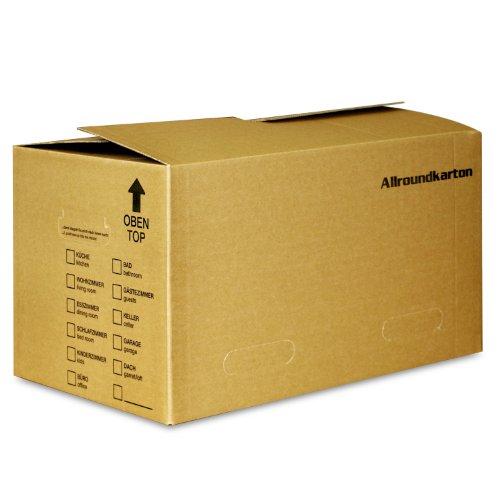 5 Allroundkartons (Profi) STABIL + 2-WELLIG - Innenmaß 520 x 325 x 295 mm - Umzug Karton Kisten Verpackung Allround Umzugskartons Schachtel