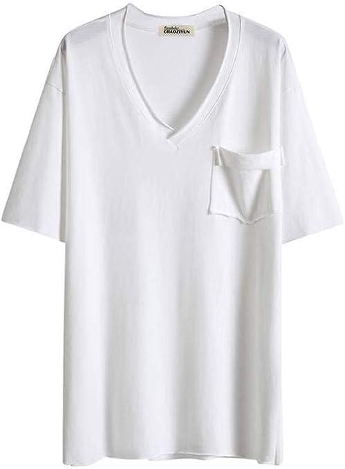 O&YQ Camiseta Blanca Mujer Manga Larga Suelta Coreano con Cuello en V Camiseta Dividida Camiseta Superior, Blanco, l: Amazon.es: Deportes y aire libre