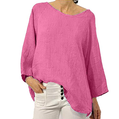 Yezijin Women's Summer Fashion Solid Color Cotton and Linen Split Personality Top Sexy Summer Tops 2019 Pink]()