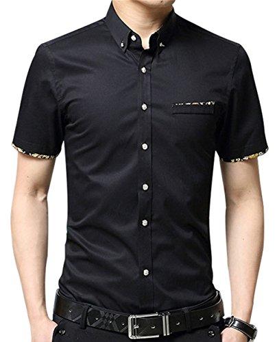 XTAPAN Men's Short Sleeve Casual Slim Fit Button Down Dress Shirt Black 2XL