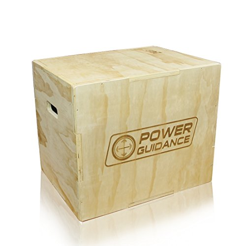 POWER GUIDANCE 3 in 1 Wood Plyometric Box - Ideal for Cross Training - 30''/24''/20'', 24''/20''/18'', 16''/14''/12'' - Plyometric Jump Box, Wood Plyo Box, Plyobox (12/14/16)