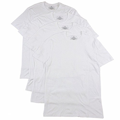 Tommy Hilfiger Men's 100% Cotton 4-Pk White Classic Crew Neck T-Shirt (Small)