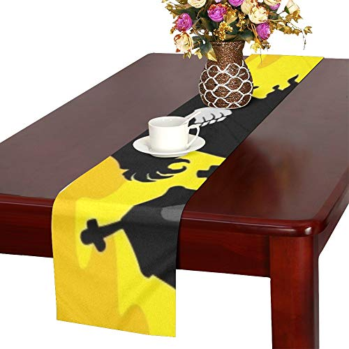 Halloween Theme Grim Reaper Table Runner, Kitchen Dining Table Runner 16 X 72 Inch for Dinner Parties, Events, Decor -