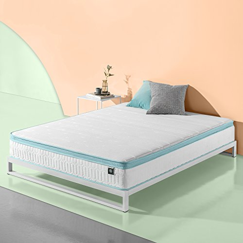 Zinus 10 Inch Mint Green Memory Foam Hybrid Spring Mattress,