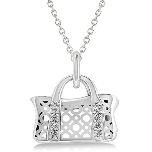 White Gold Diamond Purse Pendant (Women's Purse Pendant Necklace with Diamond Accents and Chain 14k White Gold (0.08ct))