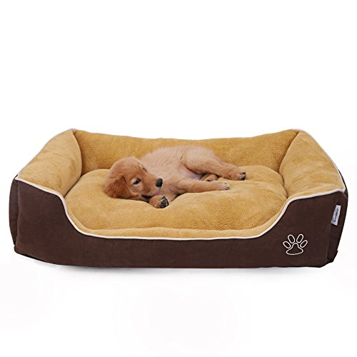 SONGMICS Plush Dog Bed Sofa with Detachable and Machine Washable Cover, Brown and Yellow UPGW07YC