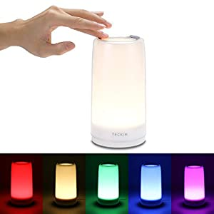 Touch Bedside Table Lamp,TECKIN LED Mood Light,Dimmable Multicolour Light for Bedroom,Living Room,Office, 3 Level…