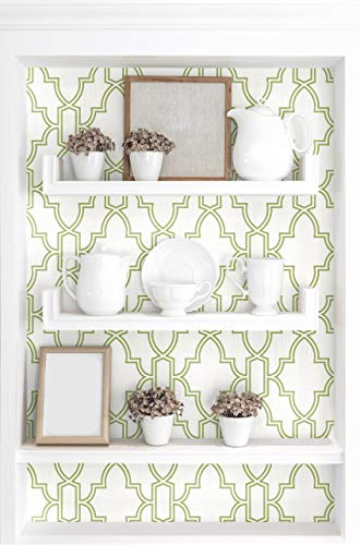 NextWall Tile Trellis Peel and Stick Wallpaper (Green & White)