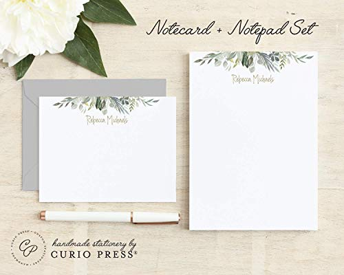 SERENITY / 2 Piece Set/Flat + Pad // Personalized Flat Card and Notepad Stationery/Stationary Womens Set