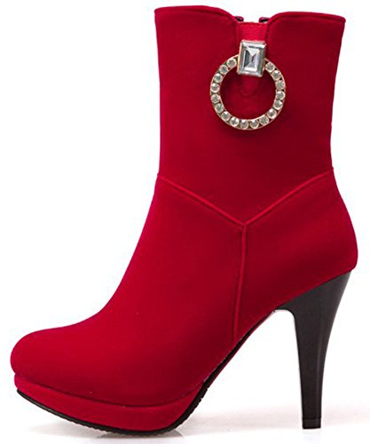 Easemax Women's Fashion Faux Suede Zip Up Pointed Toe High Stiletto Heeled Ankle High Boots Red m1BmIcjB7q