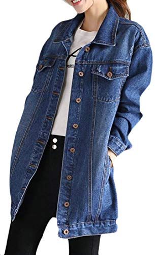Cromoncent Women Boyfriend Washed Loose Fit Jean Coat Denim Jacket Outwear Dark Blue XXL by Cromoncent