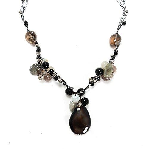 Handmade Black Agate and Quartz Gemstones Silk Thread Cluster Women Necklace 17