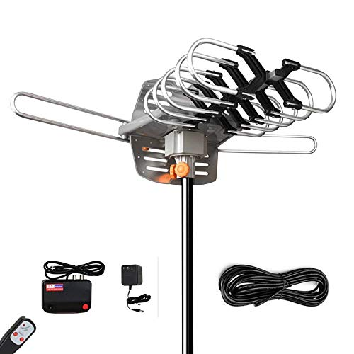 Amplified Digital Outdoor HDTV Antenna-150 Miles Range with 360 Degree Rotation Wireless Remote-Snap-On Installation Support 2 TVs and UHF/VHF/1080P Channels (Best Uhf Vhf Antenna)