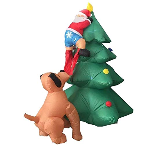 CDL 6ft Giant Size Inflatable Christmas Tree with Santa Chased by Dog for Yard, Garden Decoration 105 -