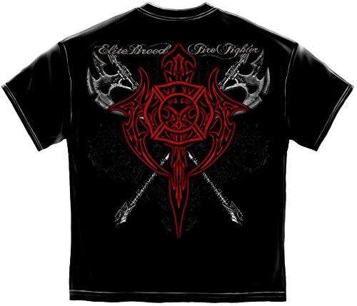 Firefighter T-Shirt Elite Breed Red Maltese Medium Black