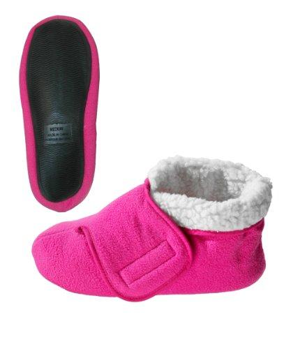 Womens/Mens Slip Resistant Bootie Slipper with Adjustable - Fuschia XL