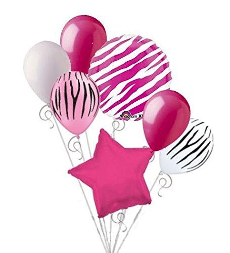 7 pc Hot Pink Zebra Print Balloon Bouquet Happy Birthday Baby Shower Animal -