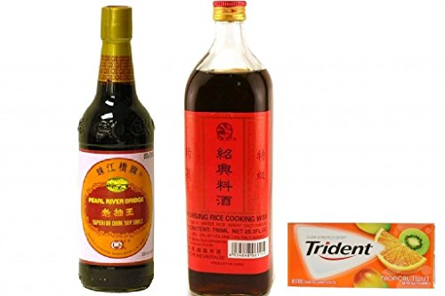 Shaohsing Rice Cooking Wine 750ML +Pearl River Bridge Superior Dark Soy Sauce 16.9 oz plus a Free Gift Trident Gum, Tropical Twist Flavor