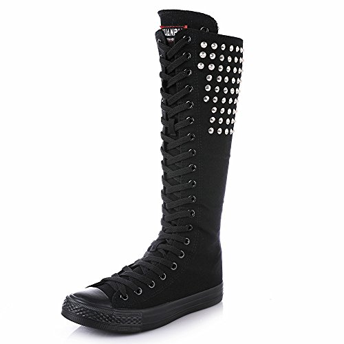 NEWCOSPLAY Womens Knee High Lace-Up Canvas Zip Dance Cheerleading Shoes Boots Rivets-black-silver AWv34IUc