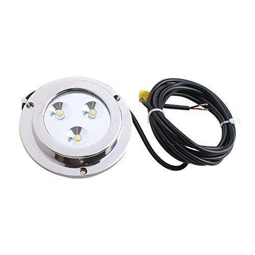 SODIAL(R) 3*2w White Stainless Steel IP68 Waterproof LED Marine Underwater Light Boat Yacht light by SODIAL(R)
