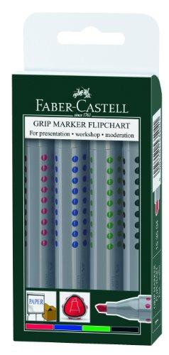 Faber-Castell 153504 - Flipchartmarker GRIP, mit Keilspitze, 4er Etui, Inhalt: rot, blau, grün und schwarz