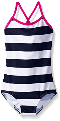 Kanu Surf Big Girls' Layla Beach Sport Banded One Piece Swimsuit, Navy Stripe, 7
